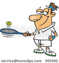 Cartoon White Guy Bouncing a Ball on His Tennis Racket by Toonaday