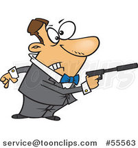 Cartoon White Secret Angent Pointing a Gun with a Silencer by Ron Leishman