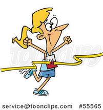 Cartoon Outlined Female 10k Runner Crossing the Finish Line by Toonaday