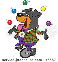 Cartoon Juggling Rottweiler on a Unicycle by Ron Leishman