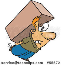 Cartoon Strained White Guy Carrying a Heavy Big Box on His Back by Ron Leishman