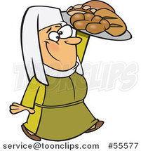 Cartoon Happy Medieval Castle Baker Lady Carrying Bread by Ron Leishman