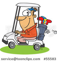 Cartoon Happy White Guy Driving a Golf Cart by Ron Leishman