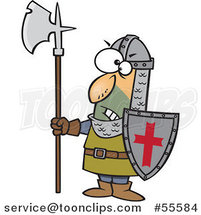 Cartoon Angry Medieval Castle Guard with an Axe and Shield by Ron Leishman