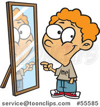 Cartoon Happy Boy Pointing to His Reflection in the Mirror by Ron Leishman