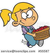 Cartoon Happy Blond White Girl Carrying a Bushel of Apples by Ron Leishman