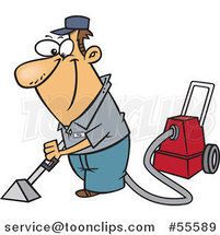 Cartoon Happy White Guy Cleaning Carpets by Ron Leishman