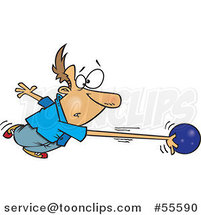 Cartoon White Guy's Arm Stretching and Going with a Bowling Ball by Ron Leishman