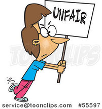 Cartoon Picketing White Lady Carrying an Unfair Sign by Ron Leishman