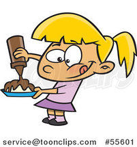 Cartoon Hungry Blond Girl Pouring Chocolate Syrup on Her Food by Ron Leishman