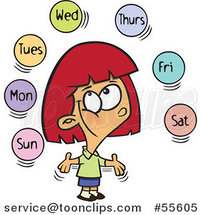 Cartoon Happy Red Haired White Girl Learning the Days of the Week by Toonaday