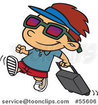 Cartoon Happy Boy Pulling Luggage and Ready for Vacation by Ron Leishman