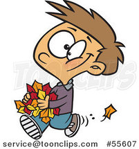 Cartoon Happy White Boy Carrying Autumn Leaves by Ron Leishman