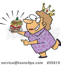 Cartoon White Sandwich Queen Lady Wearing a Crown by Ron Leishman