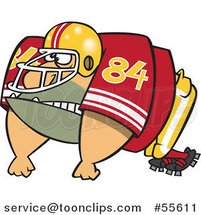 Cartoon Huge American Football Lineman Player by Ron Leishman