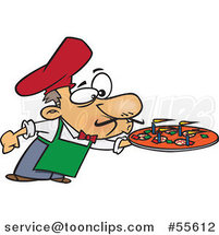 Cartoon Chef Blowing out the Candles on a Pizza Pie by Ron Leishman