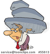Cartoon Exhausted Business Man Carrying the Burden of a Heavy Boulder Load by Ron Leishman