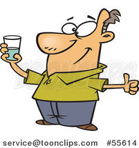 Cartoon Optimistic Guy Holding a Glass and Seeing It As Half Full by Ron Leishman