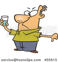 Cartoon Pessimistic Guy Holding a Glass and Seeing It As Half Full by Ron Leishman