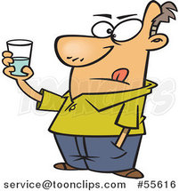 Cartoon Guy Holding a Glass and Seeing It As Half Empty and Half Full by Ron Leishman