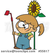 Cartoon Happy White Girl Standing with a Gardening Hoe by a Sunflower by Toonaday