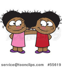 Cartoon Two Cute Happy Black Girls Standing Together by Ron Leishman