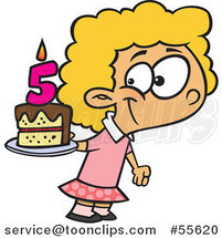 Cartoon Happy White Girl Holding Her Fifth Birthday Cake by Toonaday
