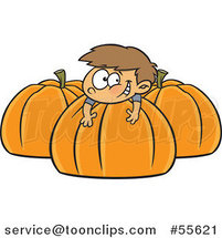 Cartoon Happy White Boy Resting on a Large Pumpkin by Ron Leishman