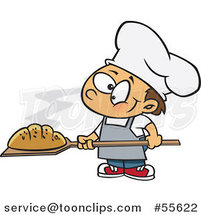 Cartoon Happy White Baker Boy with Fresh Bread by Ron Leishman