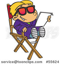 Cartoon White Child Actor Reading a Script in a Directors Chair by Ron Leishman