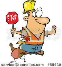 Cartoon Road Construction Worker Watching a Chicken Cross the Road by Ron Leishman