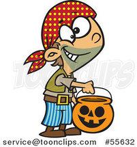 Cartoon Halloween Boy Trick or Treating As a Pirate by Ron Leishman
