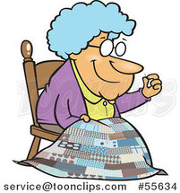 Cartoon Granny Making a Quilt by Ron Leishman