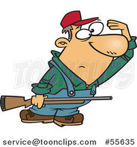 Cartoon Farmer or Hunter Shielding His Eyes and Holding a Rifle by Toonaday