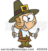 Cartoon Hungry Thanksgiving Pilgrim Boy Holding Silverware by Ron Leishman