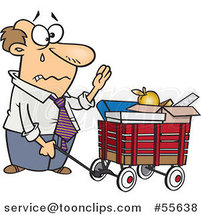 Cartoon Retiring White Business Man with All of His Belongings in a Wagon by Toonaday