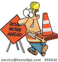 Cartoon Happy White Construction Worker with Road Cones and a Sign by Toonaday