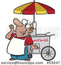 Cartoon Happy Shouting Hot Dog Vendor Guy by Ron Leishman