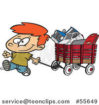 Cartoon Happy Little Boy Pulling a Wagon Full of Toys by Ron Leishman