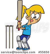 Cartoon Sporty Batting Cricket Girl by Toonaday
