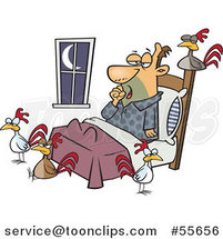 Cartoon Tired Guy with Chickens Around His Bed by Ron Leishman