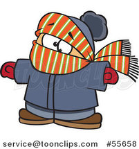 Cartoon Boy Bundled in Winter Apparel by Toonaday