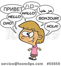 Cartoon Happy Talking Multilingual Girl by Ron Leishman