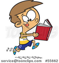Cartoon Boy Running Track and Reading an Algebra Book by Ron Leishman