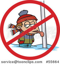 Cartoon Boy with His Tongue Stuck Frozen to a Pole with a Prohibited Symbol by Toonaday