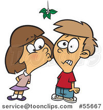 Cartoon Girl Kissing a Boy Under Mistletoe by Ron Leishman