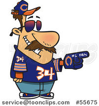 Cartoon Chicago Bears Football Fan Guy All Decked out by Toonaday