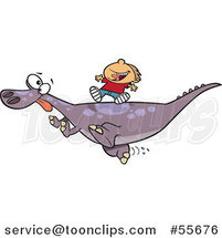 Cartoon White Boy Riding on a Pet T Rex Dinosaur by Toonaday