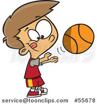 Cartoon White Boy Shooting a Basketball by Toonaday