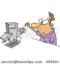 Cartoon White Guy Removing a Bug from His Computer by Ron Leishman